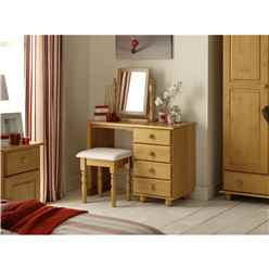Traditional Solid Pine Single Pedestal Dressing Table
