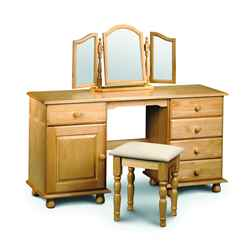 Traditional Solid Pine Twin Pedestal Dressing Table