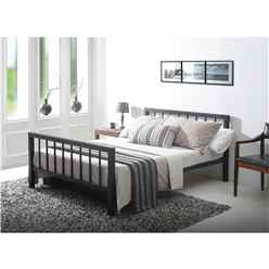"Black Micro Slatted Metal Bed Frame - Double 4ft 6"" - Free Next Day Delivery*"