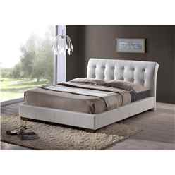 "White Modern Design Faux Leather Bed Frame - Double 4ft 6"" - Free Next Day Delivery*"