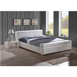 Durham White Cubed Sleigh Design Faux Leather Bed Frame - Double 4ft 6""