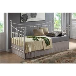 Ivory Metal Day Bed Frame - Single 3ft - Free Next Day Delivery*
