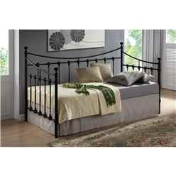 Black Metal Day Bed Frame - Single 3ft - Free Next Day Delivery*