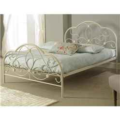 "White 4ft 6"" Alexis Metal Bed Frame"