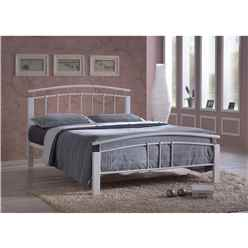 Silver Metal & White Beech Bed Frame - Single 3ft - Free Next Day Delivery*