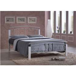 "Silver Metal & White Beech Bed Frame - Double 4ft 6"" - Free Next Day Delivery*"