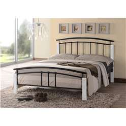 Black Metal & White Beech Bed Frame - Small Double 4ft - Free Next Day Delivery*