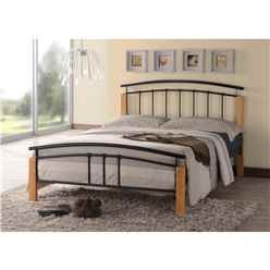 "Black Metal & Beech Bed Frame - Double 4ft 6"" - Free Next Day Delivery*"