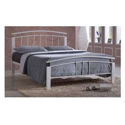 "White Metal & White Beech Bed Frame - Double 4ft 6"" - Free Next Day Delivery*"