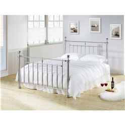 "Chrome Nickel Finish Classic Metal Bed Frame - Double 4ft 6"" - Free Next Day Delivery*"