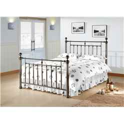 "Polished Black Nickel Finish Metal Bed Frame - Double 4ft 6"" - Free Next Day Delivery*"