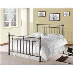 "Polished Black Nickel Metal Bed Frame Featuring Crystal Effect Finials - Double 4ft 6"" - Free Next Day Delivery*"