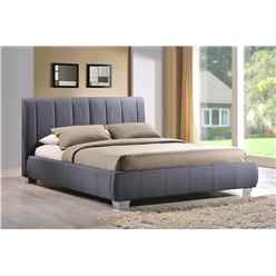 "Chrome Footed Grey Fabric Bed Frame - Double 4ft 6"" - Free Next Day Delivery*"