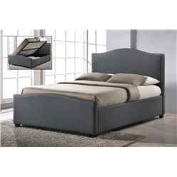 "Chrome Studded Grey Fabric Side Ottoman Style Bed Frame - Double 4ft 6"" - Free Next Day Delivery*"