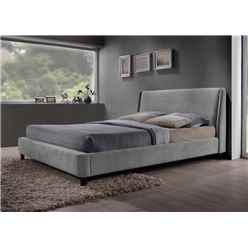 "Grey Fabric Finished Contemporary Styled Bed Frame - Double 4ft 6"" - Free Next Day Delivery*"