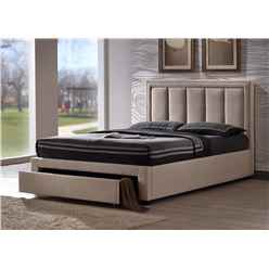 """Plush Sand Fabric Bed Frame - Double 4ft 6"""" - Free Next Day Delivery*"""