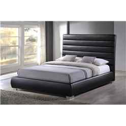 "Black Padded Headboard Faux Leather Bed Frame - Double 4ft 6"" - Free Next Day Delivery*"
