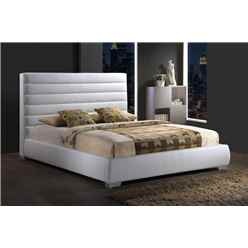 White Padded Headboard Faux Leather Bed Frame - King Size 5ft - Free Next Day Delivery*