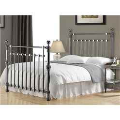 "Black Nickel Squared Metal Bed Frame - Double 4ft 6"" - Free Next Day Delivery*"