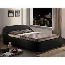 "Black Contemporary Sleigh Style Faux Leather Bed Frame - Double 4ft 6"" - Free Next Day Delivery*"