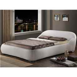 "White Contemporary Sleigh Style Faux Leather Bed Frame - Double 4ft 6"" - Free Next Day Delivery*"