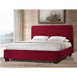 "Red Contemporary Style Fabric Bed Frame - Double 4ft 6"" - Free Next Day Delivery*"