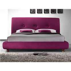 "Ruby Pink Buttoned Fabric Bed Frame - Double 4ft 6"" - Free Next Day Delivery*"