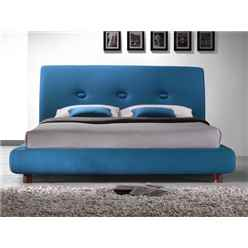 "Teal Blue Buttoned Fabric Bed Frame - Double 4ft 6"" - Free Next Day Delivery*"