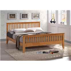 "Honey Oak Style Slatted Hardwood Single Bed Frame - Double 4ft 6"" - Free Next Day Delivery*"