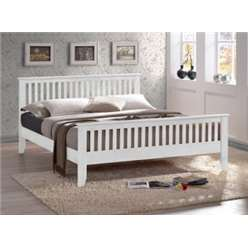 White Slatted Shaker Style Hardwood Single Bed Frame - 3ft - Free Next Day Delivery*
