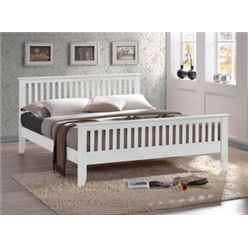 "Turin White Bed Frame - Double 4ft 6"" - Free Next Day Delivery*"