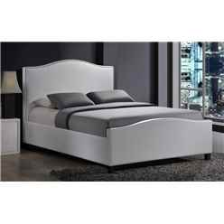 "Chrome Studded White Fabric Bed Frame - Double 4ft 6"" - Free Next Day Delivery*"
