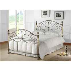 "Victorian Style Antique Brass Finished Metal Bed Frame - Double 4ft 6"" - Free Next Day Delivery*"