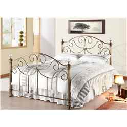 "Victorian Style Antique Brass Finished Metal Bed Frame with Crystal Effect Finials - Double 4ft 6"" - Free Next Day Delivery*"