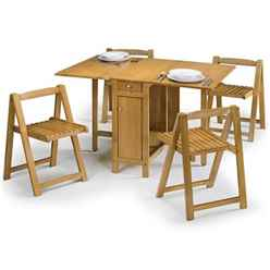 Folding Light Oak Finish Dining Set (Table + 4 Chairs)