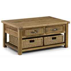 Rustic Reclaimed Pine Coffee Table with 2 Drawers