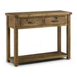Rustic Reclaimed Pine Console Table with 2 Drawers
