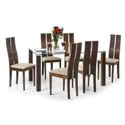 Unique Solid Beech with Walnut Finish Dining Set (Table + 6 Chairs)