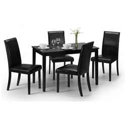 Simplistic Black Lacquer Rectangular Dining Set (Table + 4 Chairs)