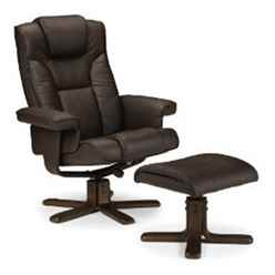 Reclining Swivel Chair with Footstool - Brown
