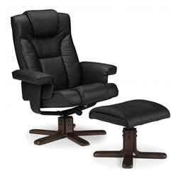 Reclining Swivel Chair with Footstool - Black