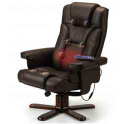 Reclining Swivel Massage Chair with Footstool - Brown