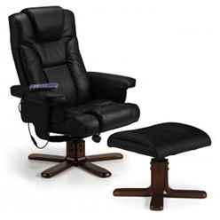 Reclining Swivel Massage Chair with Footstool - Black