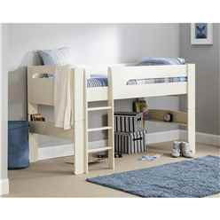 Stone White Mid Sleeper Childrens Bed Frame - Single 3ft (90cm)
