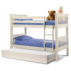 Premium Stone White Finish Shaker Style Bunk Bed 2 x 3ft (90cm) + Stopover Underbed - Free Next UK Delivery* - Best Seller