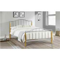 "Light Oak & Aluminium Finished Metal Bed Frame - Double 4""6' (135cm)"