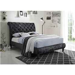 Velvet Fabric Black Bed Frame - Double 4ft 6""