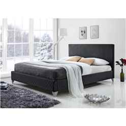 Diamond Fabric Grey Bed Frame - King 5ft