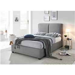 Designer Fabric Grey Bed Frame - Double 4ft 6""