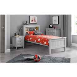 New England Dove Grey Lacquer Bookcase Bed Frame - Single 3ft (90cm)